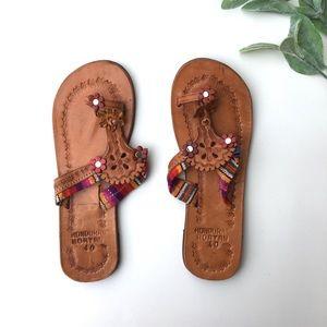 Shoes - Honduras Roatan Leather And Fabric Slide Sandals
